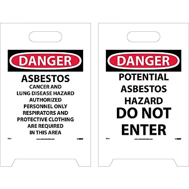 Floor Sign, Dbl Side, Danger Asbestos . . .Danger Potential Asbestos Hazard . . ., 20X12