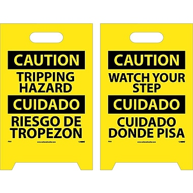 Floor Sign, Dbl Side, Caution Tripping Hazard Caution Watch Your Step (Bilingual), 20X12