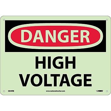 Danger, High Voltage, 10X14, Rigid Plasticglow