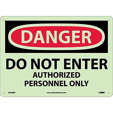 Danger, Do Not Enter Authorized Personnel Only, 10X14, Rigid Plasticglow