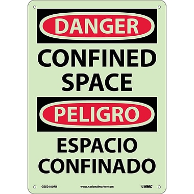 Danger, Confined Space, Bilingual, 14X10, Rigid Plastic Glow