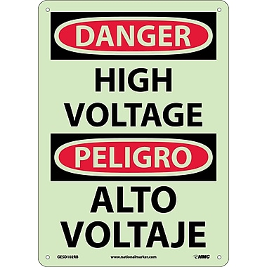 Danger, High Voltage, Bilingual, 14X10, Glow Rigid Plastic