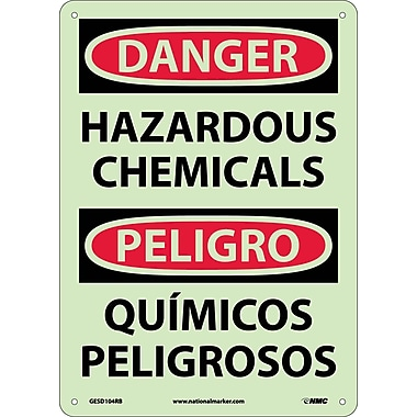 Danger, Hazardous Chemicals, Bilingual, 14X10, Glow Rigid Pastic