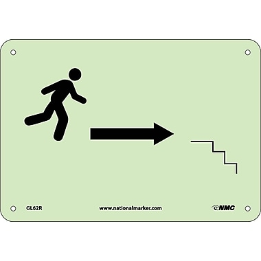 Stairs Right Arrow Man Graphic, 7X10, Glow Rigid
