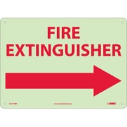 Fire, Fire Extinguisher, Right Arrow, 10X14, Rigid Plasticglow