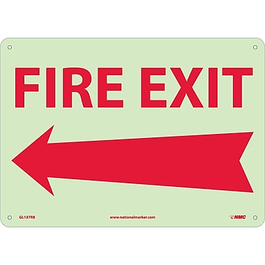 Fire, Fire Exit, Left Arrow, 10X14, Rigid Plasticglow