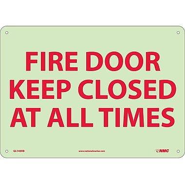 Fire, Fire Door Keep Closed At All Times, 10X14, Rigid Plasticglow