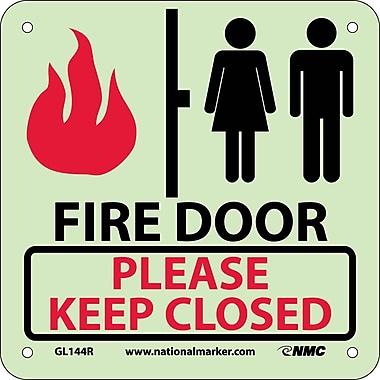 Fire, Fire Door Please Keep Closed, 7X7, Rigid Plastic Glow