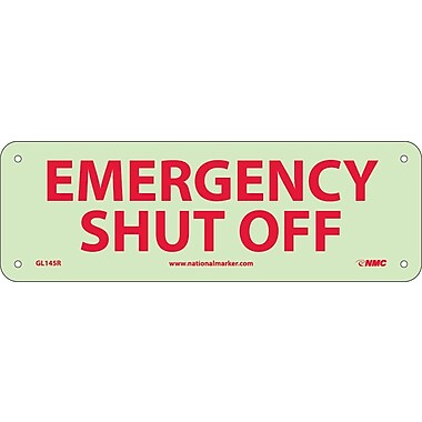 Fire, Emergency Shut Off, 4X12, Rigid Plasticglow
