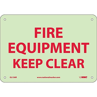 Fire, Fire Equipment Keep Clear, 7X10, Rigid Plasticglow