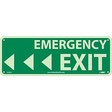Emergency Exit (W/ Left Arrow), 5X14, Glow Rigid