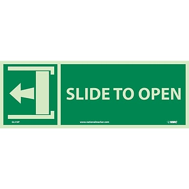 Slide To Open (W/ Left Arrow), 5X14, Adhesive Glow