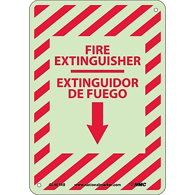 Fire Extinguisher, Down Arrow, Bilingual 14X10, Glow Rigid Plastic