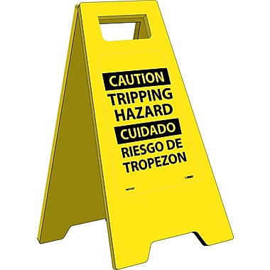 Heavy Duty Floor Sign, Caution Tripping Hazard (Bilingual), 24.63X10.75