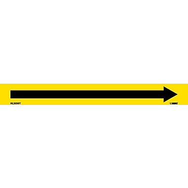 Pipemarker, Adhesive Vinyl, Directional Arrows, Yellow, 1X9 3/4