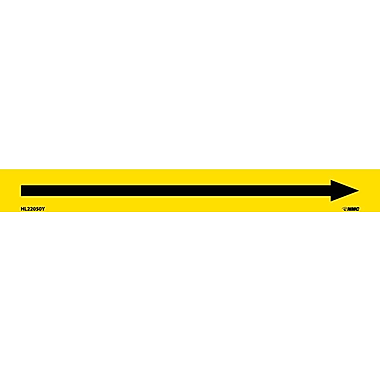 Pipemarker, Adhesive Vinyl, Directional Arrows, Yellow, 1X9 1/2