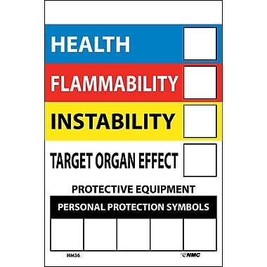 Right To Know Labels, Write On Colour Bar, 6X4, Adhesive Vinyl, 10/Pack