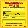 Hazard Labels, Hazardous Waste, 6X6, Adhesive Vinyl, 25/Pk
