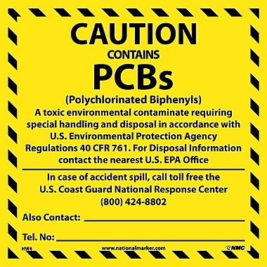 Hazard Labels, Caution Contains Pcb'S. . .., 6X6, Adhesive Vinyl, 25/Pk