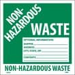 Hazard Labels, Non-Hazardous Waste, 6X6, Adhesive Vinyl, 25/Pk