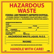 Hazard Labels, Hazardous Waste (For Liquids), 6X6, Adhesive Vinyl, 25/Pk