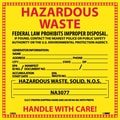 Hazard Labels, Hazardous Waste (For Solids), 6X6, Adhesive Vinyl, 25/Pk