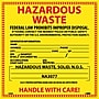 Hazard Labels, Hazardous Waste (For Solids), 6X6, Adhesive