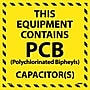 Hazard Labels, This Equipment Contains Pcb, 6X6, Adhesive
