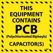 Hazard Labels, This Equipment Contains Pcb, 6X6, Adhesive Vinyl, 25/Pk