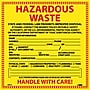 Hazard Labels, Hazardous Waste California, 6X6, Adhesive Vinyl,