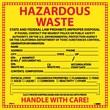 Hazard Labels, Hazardous Waste California, 6X6, Adhesive Vinyl, 25/Pk