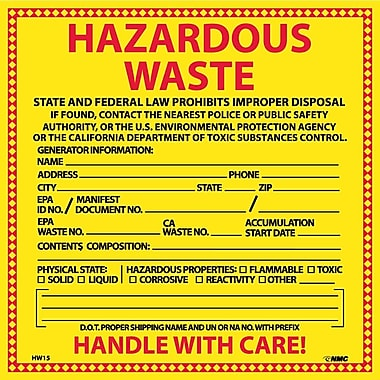 Hazard Labels, Hazardous Waste California, 6X6, Adhesive Vinyl, 25/Pk