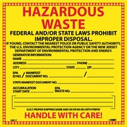 Hazard Labels, Hazardous Waste New Jersey, 6X6, Adhesive Vinyl, 25/Pk