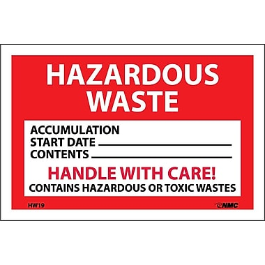 Hazard Labels, Hazardous Waste Handle With Care, 4X6, Adhesive Vinyl, 25/Pk
