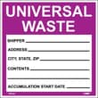 Hazard Labels, Hazardous Materials Shipping, Universal Waste, 6X6, Adhesive Vinyl, 25/Pk