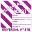 Hazard Labels, Hazardous Materials Shipping, Universal Waste Stripes, 6X6, Adhesive Vinyl, 25/Pk