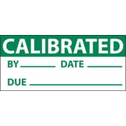 Inspection Label, Calibrated, Grn/Wht, 1X2 1/4, Adhesive Vinyl (27 Labels)