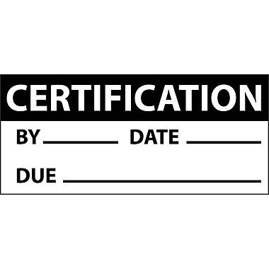 Inspection Label, Certification, Blk/Wht, 1X2 1/4, Adhesive Vinyl (27 Labels)