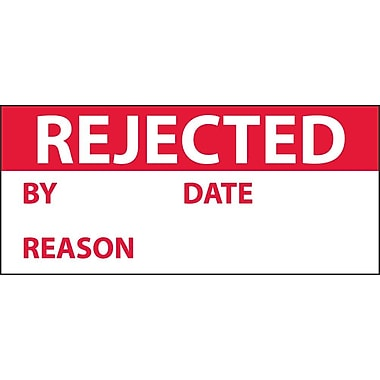 Inspection Label, Rejected, Red/White, 1