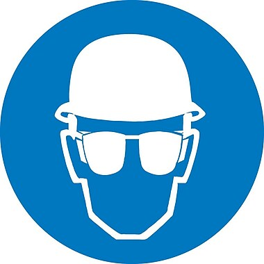 Label, Graphic For Wear Head And Eye Protection, 2In Dia, Adhesive Vinyl