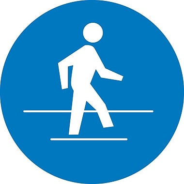 Label, Graphic For Use Pedestrian Route, 2In Dia, Adhesive Vinyl