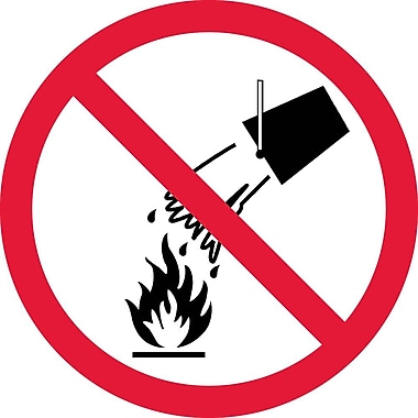 Label, Graphic For Do Not Extinguish With Water, 2In Dia, Adhesive Vinyl