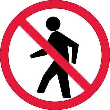Label, Graphic For No Pedestrians, 2In Dia, Adhesive Vinyl