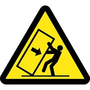 Label, Graphic For Tipping Hazard, 2In Dia, Adhesive Vinyl