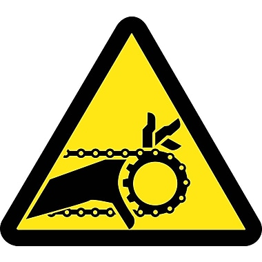 Label, Graphic For Chain Drive Entanglement Hazard, 2In Dia, Adhesive Vinyl