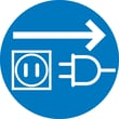 Label, Graphic For Unplug Electrical Supply, 4In Dia, Adhesive Vinyl