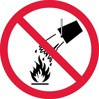 Label, Graphic For Do Not Extinguish With Water, 4In Dia, Adhesive Vinyl