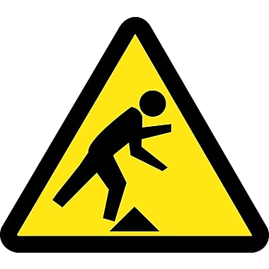 Label, Graphic For Tripping Hazard, 4In Dia, Adhesive Vinyl