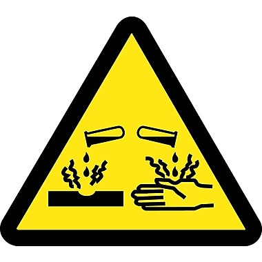 Label, Graphic For Corrosive / Acid Hazard, 4In Dia, Adhesive Vinyl