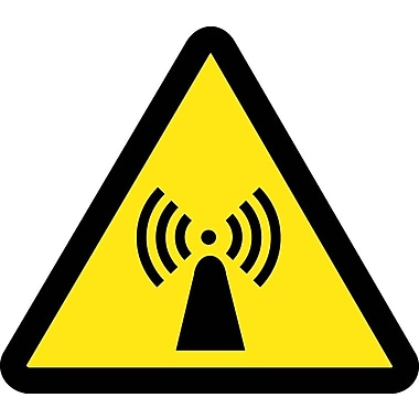 Label, Graphic For Electro Magnetic Hazard, 4In Dia, Adhesive Vinyl